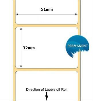 880010-031 Zebra 51x32x76mm  Z-Perform 1000 Thermal Transfer Labels . www.DiscountTillRolls.com