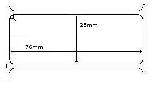 880255-025D  Zebra 76x25x25mm  Z-Perform 3000 Thermal Transfer Labels . www.DiscountTillRolls.com