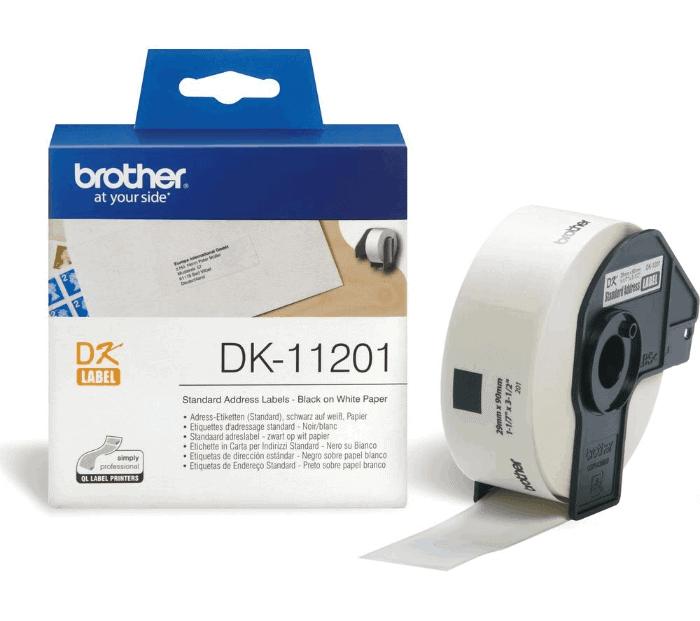 1x Adressetiketten Standard 28x90mm Weiß für Brother P-Touch QL580 N DK11201