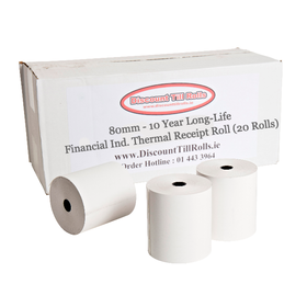 80mm 80GSM Long Life 10 Year Thermal Till Rolls (20 Roll Box)