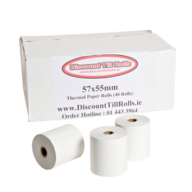 57x55mm Thermal Paper Rolls (40 roll box)