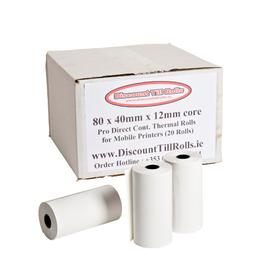 80x40mm Thermal Paper Till Rolls