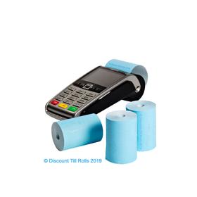 57x40mm Blue Coreless Credit Card Till Rolls (20 Roll Box)