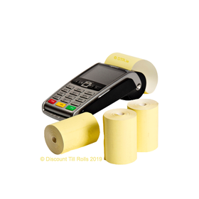 57x40mm Yellow Coreles Credit Card Till Rolls (20 Roll Box)