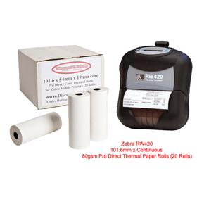 Zebra RW420 Direct Thermal Paper Rolls (20 Rolls) 3003072
